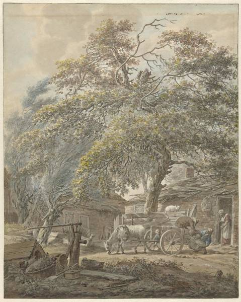 Wall Art - Painting - Barnyard With Two Men Loading A Cradle On A Horse Cart by Vincent Jansz van der Vinne