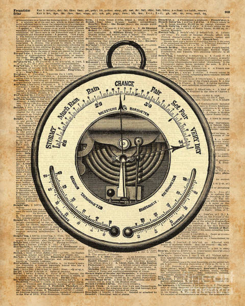 Wall Art - Digital Art - Barometer Vintage Tool Dictionary Art by Anna W