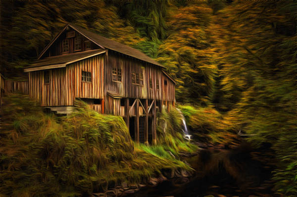 Autumn Colors Digital Art - Baroque Cedar Grist Mill by Mark Kiver