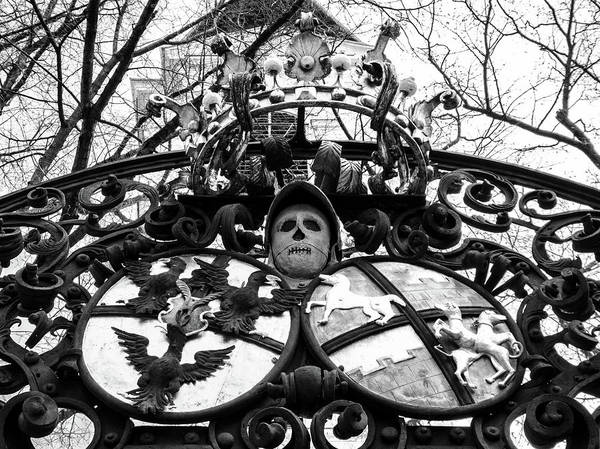 Photograph - Baroque Wrought Iron Gate With Skull And Coat Of Arms by Menega Sabidussi
