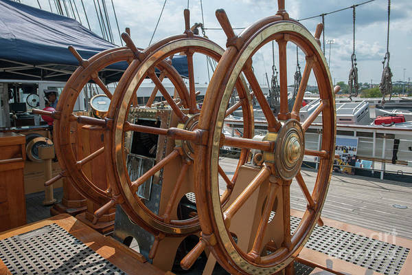 Photograph - Barque Eagle Ships Wheel by Dale Powell