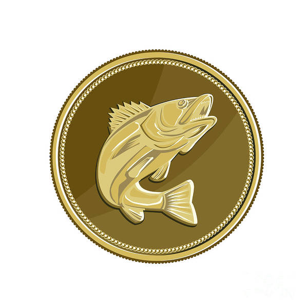Wall Art - Digital Art - Barramundi Gold Coin Retro by Aloysius Patrimonio