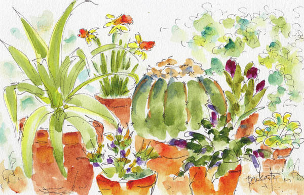 Painting - Barrel Cactus And His Buddies by Pat Katz