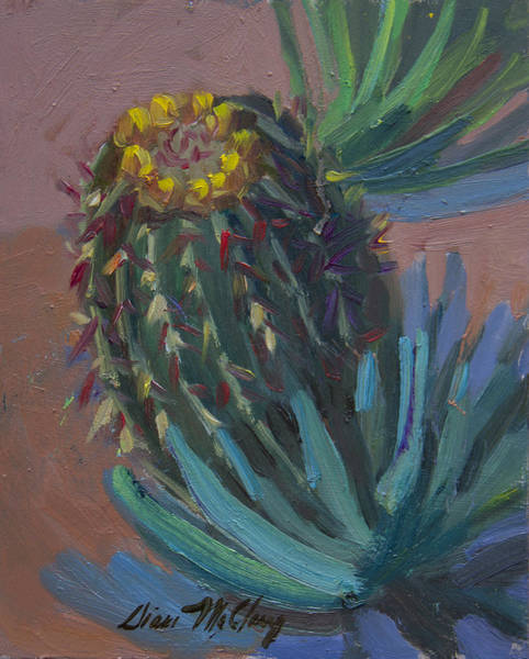 Sonoran Desert Wall Art - Painting - Barrel Cactus In Bloom - Boyce Thompson Arboretum by Diane McClary