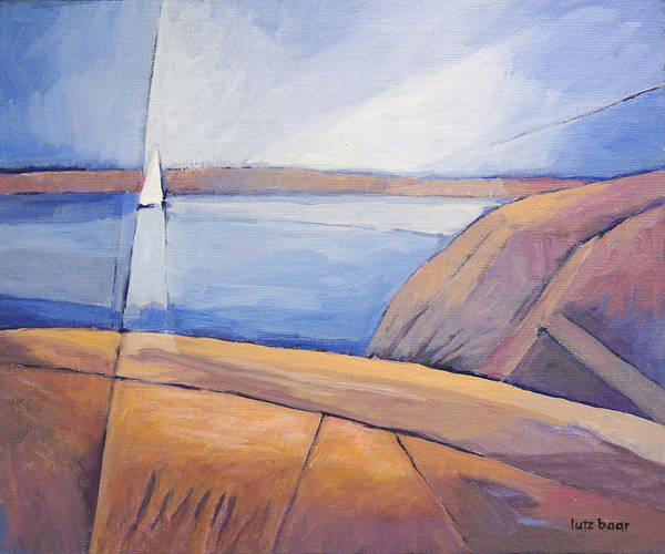 Impressionistic Sailboats Painting - Barren Coast Seascape by Lutz Baar