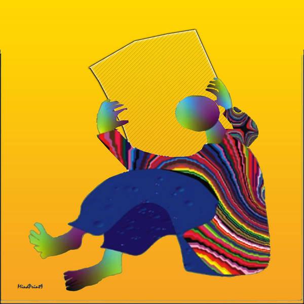 Reader Digital Art - Barren Newspaper by Asok Mukhopadhyay