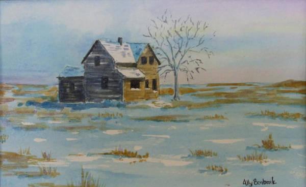 Barn Snow Painting - Barren Prairie by Ally Benbrook