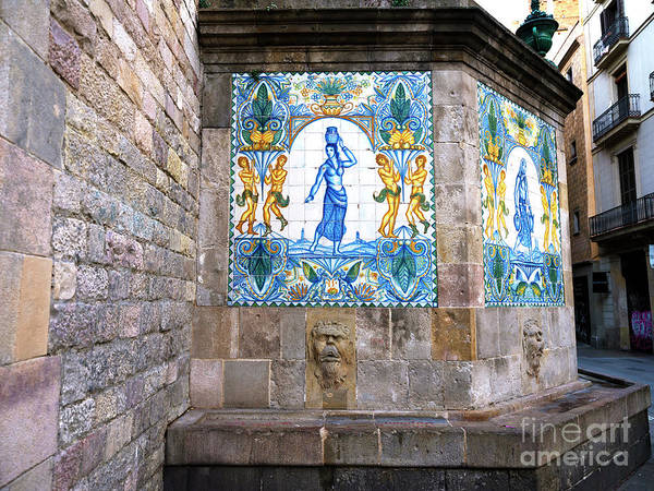 Photograph - Barri Gotic Drinking Fountain Barcelona by John Rizzuto