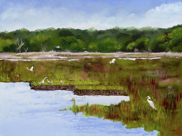 Water Foul Painting - Barrier Island by Sue Gouse