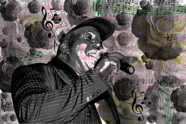 Digital Art - Barrington Levy Black Roses by Brad Scott