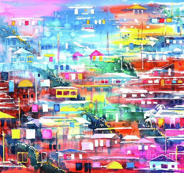 Pueblo Painting - Barrio El Cerro De Yauco by Zaira Dzhaubaeva