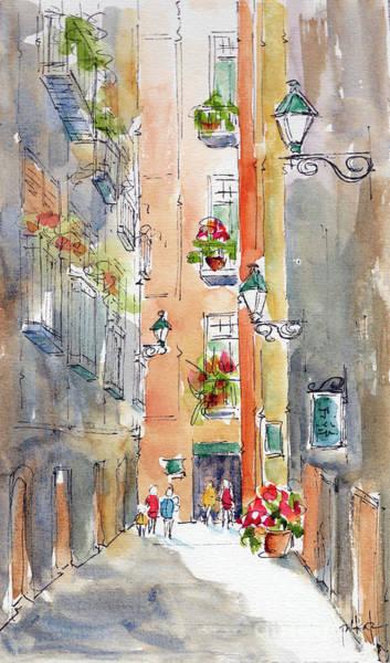 Narrow Street Painting - Barrio Gotico Barcelona by Pat Katz