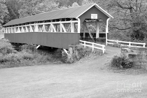 Laurel Hill Creek Photograph - Barron's Covere Bridge In Black And White by Adam Jewell
