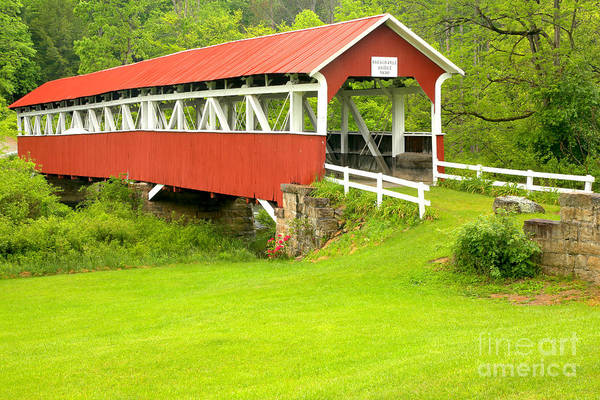 Laurel Hill Creek Photograph - Barron's Covered Bridge by Adam Jewell