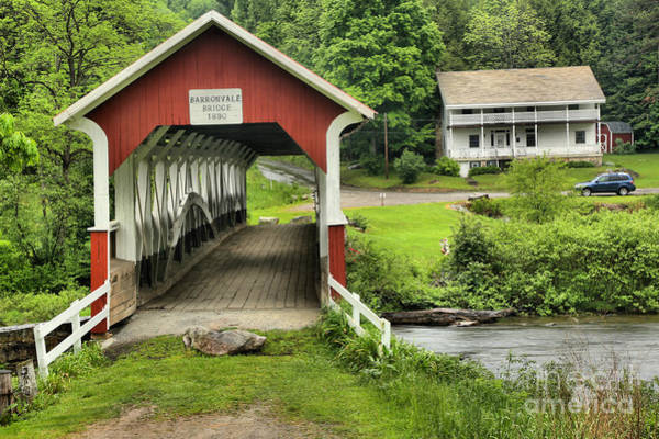 Laurel Hill Creek Photograph - Barronvale Covered Bridge Landcape by Adam Jewell