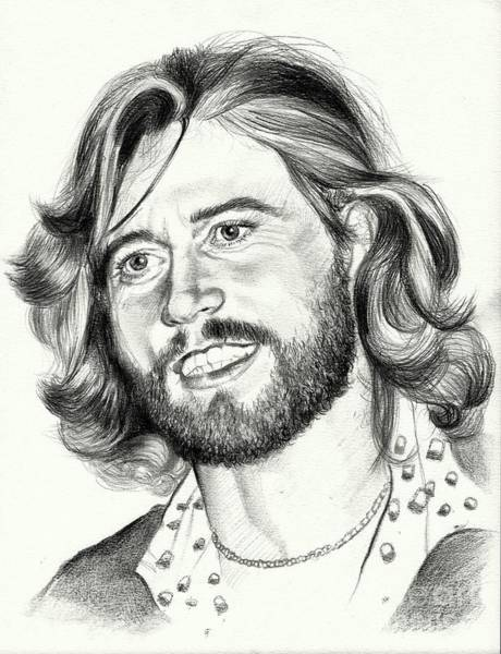 Heart Gold Painting - Barry Gibb Portrait by Suzann Sines