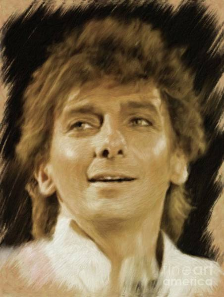 Show Business Wall Art - Painting - Barry Manilow, Music Legend by Mary Bassett