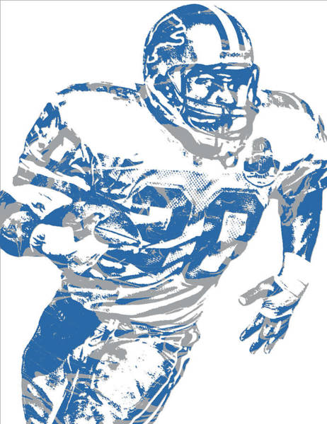 Super Bowl Mixed Media - Barry Sanders Detroit Lions Pixel Art 1 by Joe Hamilton