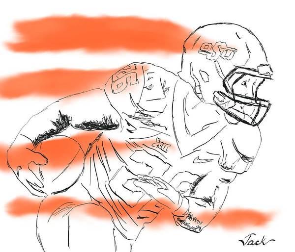 Osu Digital Art - Barry Sanders Jr by Jack Bunds