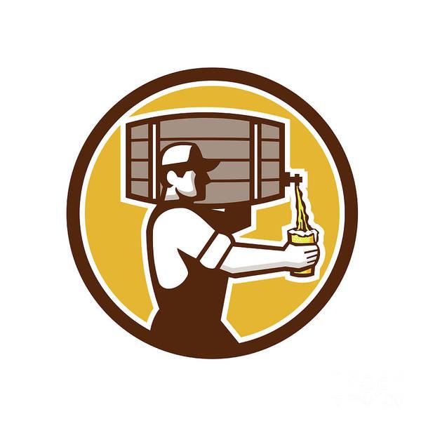 Pouring Digital Art - Bartender Carrying Keg Pouring Beer Circle Retro by Aloysius Patrimonio