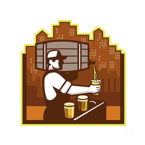 Wall Art - Digital Art - Bartender Pouring Beer Keg Cityscape Retro by Aloysius Patrimonio