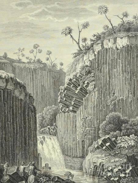Basalt Drawing - Basalt Rocks And The Cascade De Regla, by Alexander von Humboldt