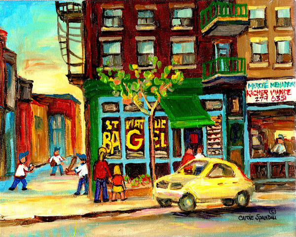 Painting - Baseball And A Bagel by Carole Spandau