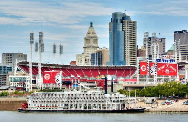 Photograph - Baseball And Boats In Cincinnati by Mel Steinhauer