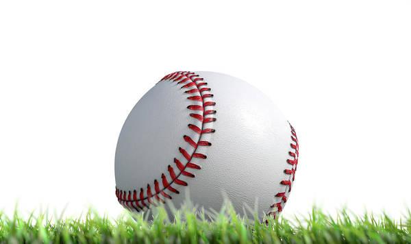 Red Sky Digital Art - Baseball Ball Resting On Grass by Allan Swart