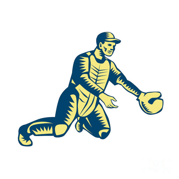Wall Art - Digital Art - Baseball Catcher Catching Woodcut by Aloysius Patrimonio