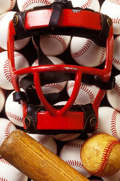 Wall Art - Photograph - Baseball Catchers Mask And Balls by Garry Gay