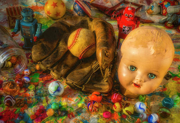 Wall Art - Photograph - Baseball Glove And Dolls Head by Garry Gay