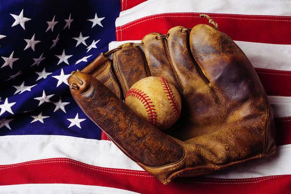 Memory Game Photograph - Baseball Mitt And American Flag by Garry Gay