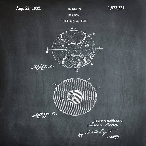 Photograph - Baseball Patent 1832 In Chalk by Bill Cannon