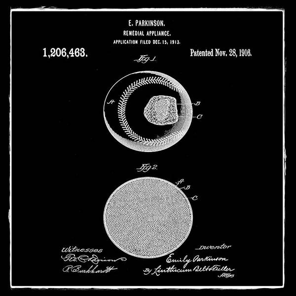 Wall Art - Photograph - Baseball Patent 1916 Black by Bill Cannon