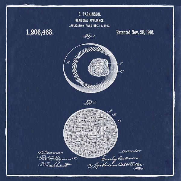 Photograph - Baseball Patent 1916 Blue by Bill Cannon