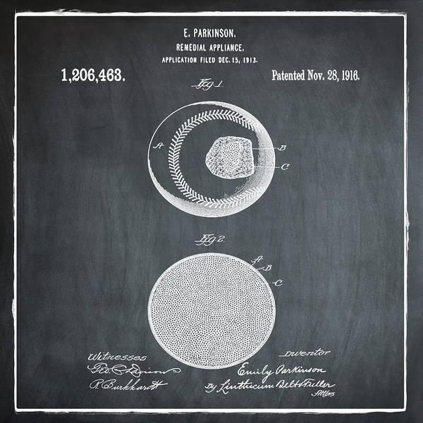 Photograph - Baseball Patent 1916 Chalk by Bill Cannon