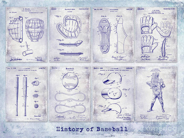Wall Art - Photograph - Baseball Patent History Blueprint by Jon Neidert