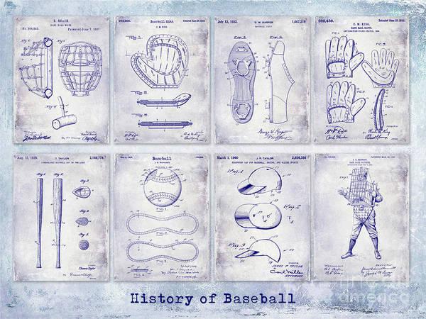 Baseball Bat Patent Wall Art - Photograph - Baseball Patent History Blueprint by Jon Neidert