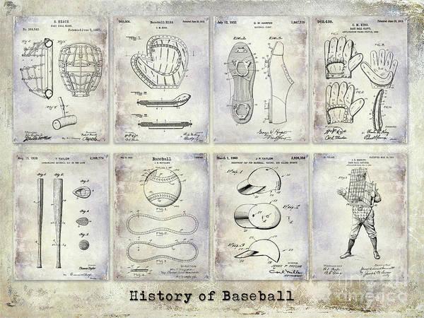 Baseball Bat Patent Wall Art - Photograph - Baseball Patent History by Jon Neidert