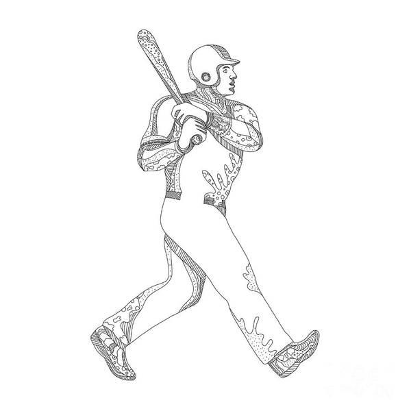 Sportsman Digital Art - Baseball Player Batting Doodle by Aloysius Patrimonio
