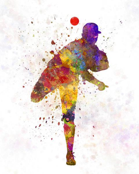 Baseball Player Wall Art - Painting - Baseball Player Throwing A Ball by Pablo Romero