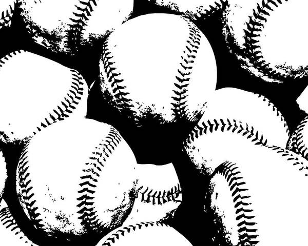 Sport Digital Art - Baseball Poster Black White by Flo Karp