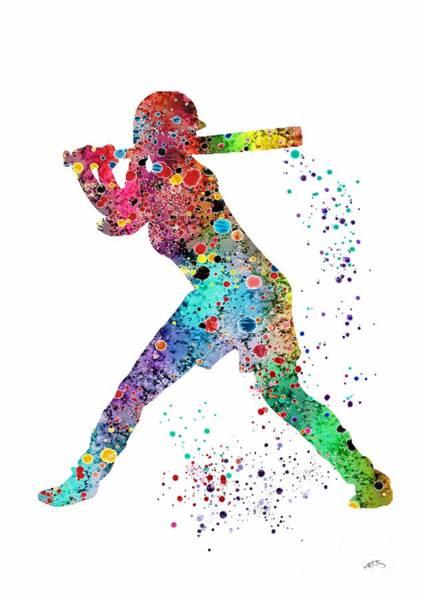Baseball Player Wall Art - Digital Art - Baseball Softball Player by Svetla Tancheva