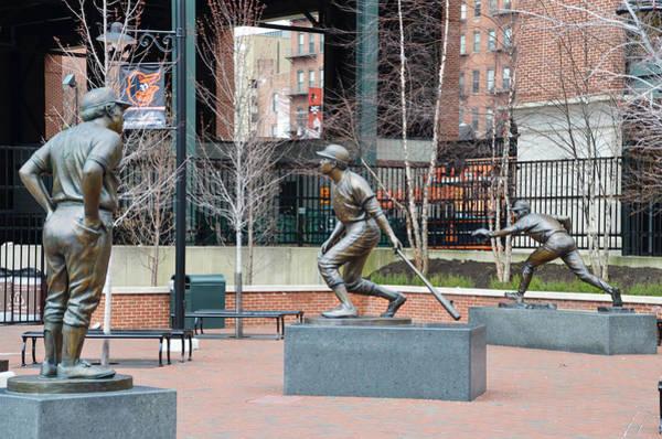 Photograph - Baseball Statues At Camden Yards - Baltimore Maryland by Bill Cannon