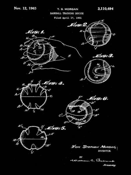 Photograph - Baseball Training Device Patent 1961 Black by Bill Cannon