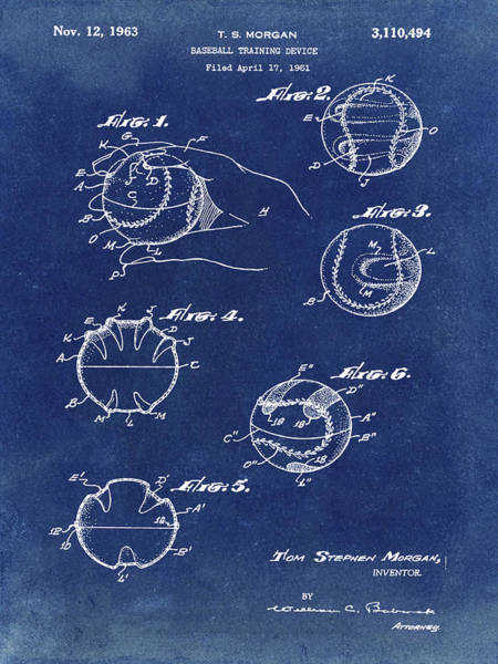 Photograph - Baseball Training Device Patent 1961 Blue by Bill Cannon