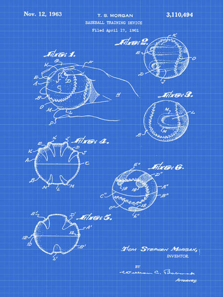 Photograph - Baseball Training Device Patent 1961 Blueprint by Bill Cannon
