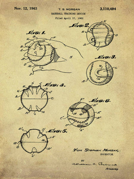 Photograph - Baseball Training Device Patent 1961 Sepia by Bill Cannon