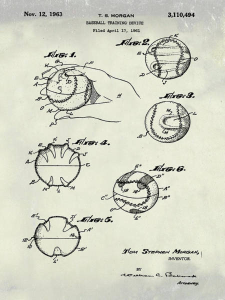 Photograph - Baseball Training Device Patent 1961 Weathered by Bill Cannon